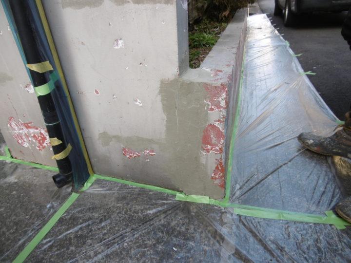 樹脂モルタルの修繕作業